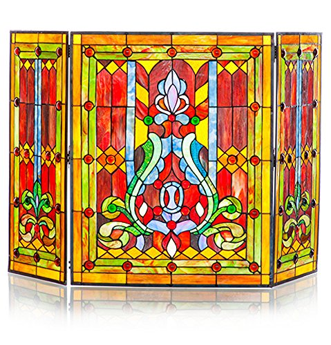 River of Goods Fireplace Screen: Stained Glass Tiffany Style Screens - Gas & Wood Burning (Art Glass Stained Glass Fireplace Screen)