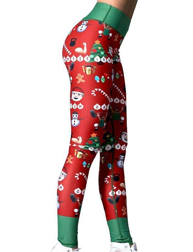 0b21abb32b Fenido High Waisted Christmas Workout Leggings for Women Sport Yoga Gym  Running Pants at Amazon Women's Clothing store: