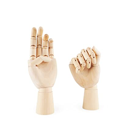 Pdfans Wooden Hand Manikin Jointed Articulated Flexible Fingers Hand Mannequin For Art Drawing Display Leftright Hands