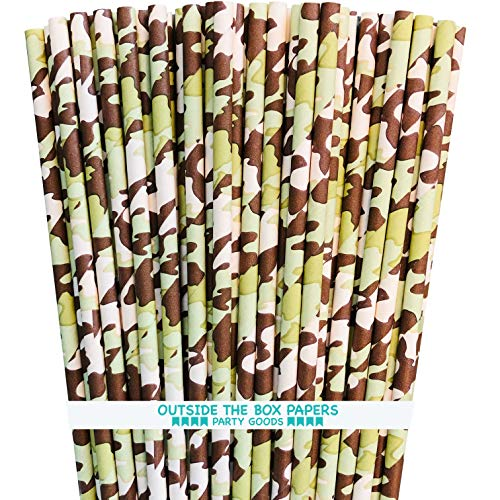 Desert Camo Themed Paper Straws - Tan Brown Green - 100 Pack ()