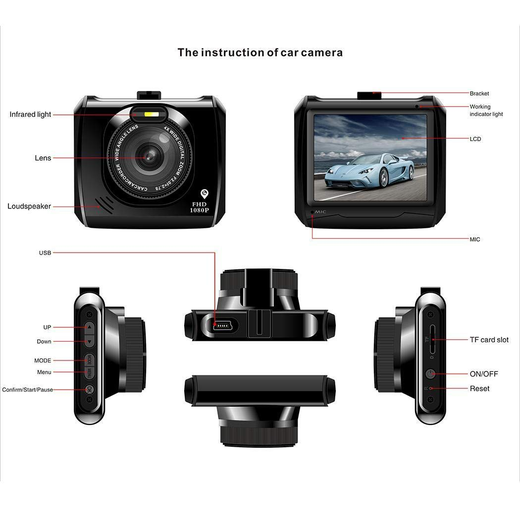 Amazon.com: edited 2.4inch Screen Mini HD 1080P Multi-Function Q5 Car Driving Recorder Vehicle Backup Cameras: Garden & Outdoor