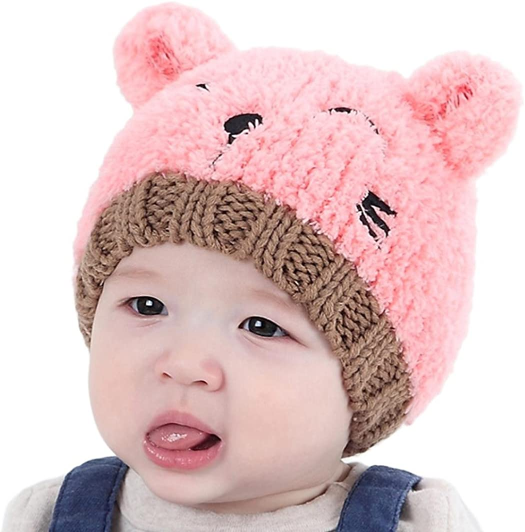 Vicbovo Toddler Baby Infant Boy Girl Lovely Cartoon Bear Ear Knit Beanie Caps Newborn Warm Winter Hats