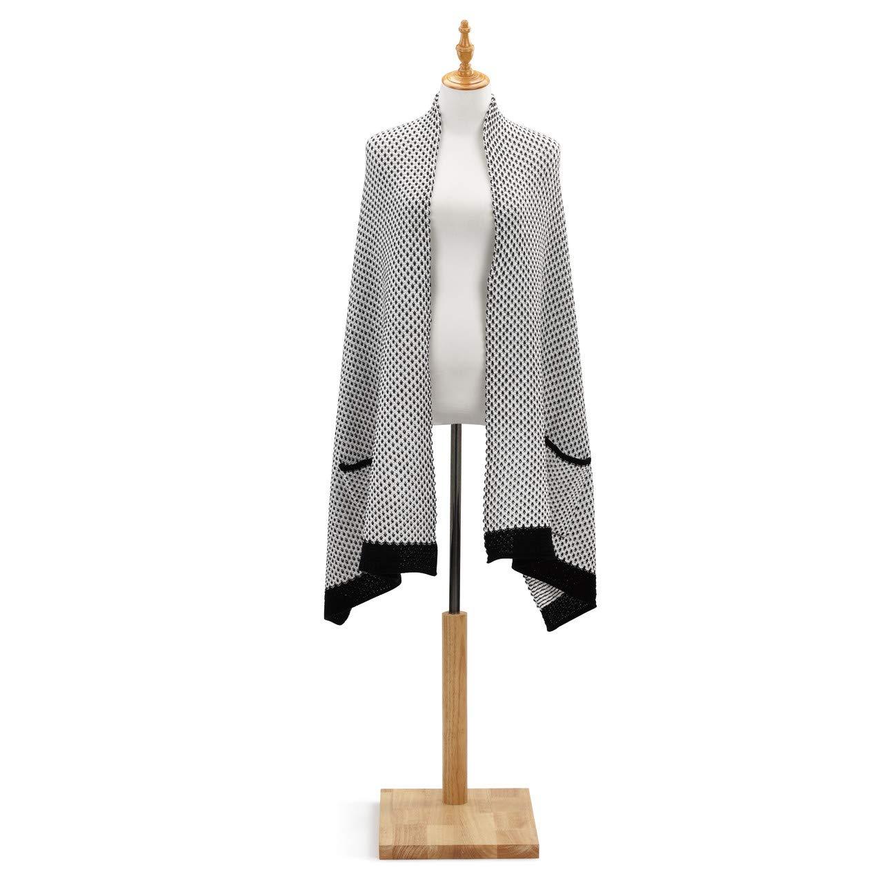 Black White Women's One Size Acrylic Knit Weave Pocket Stole Shawl