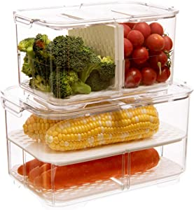 blitzlabs Fresh Produce Saver Organizer Keeper Bins Baskets Refrigerator Food Storage Containers with Lids and Removable Drain Tray for ForFridge Freezer Cabinet Kitchen Organization, Set of 2