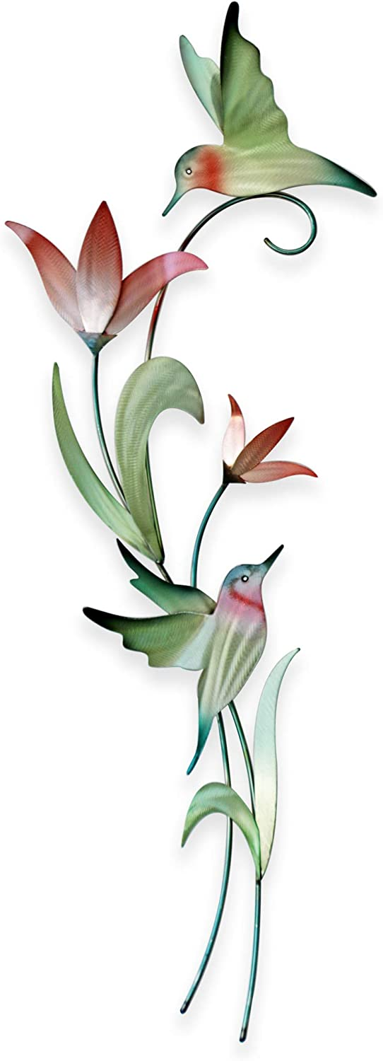 Hummingbirds Contemporary Floral Botanical Metal Wall Decor