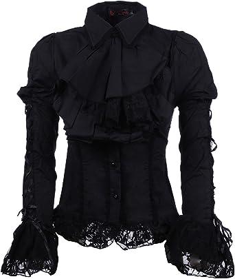 Pentagrama camisa negra con manga de encaje y buche negro ...
