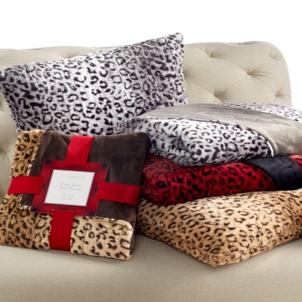 Charter Club Faux Fur Animal Print Throw 50'' x 60'', Red/Black
