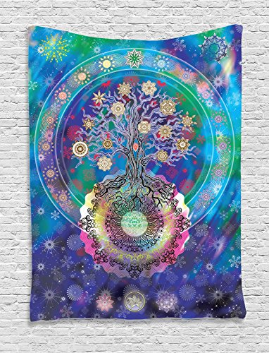 Ambesonne Home Decor Collection, Tree of Life with Floral Style Mandala Spiritual Artwork Meditation Peace Spa Design Decor, Bedroom Living Room Dorm Wall Hanging Tapestry, Blue Purple