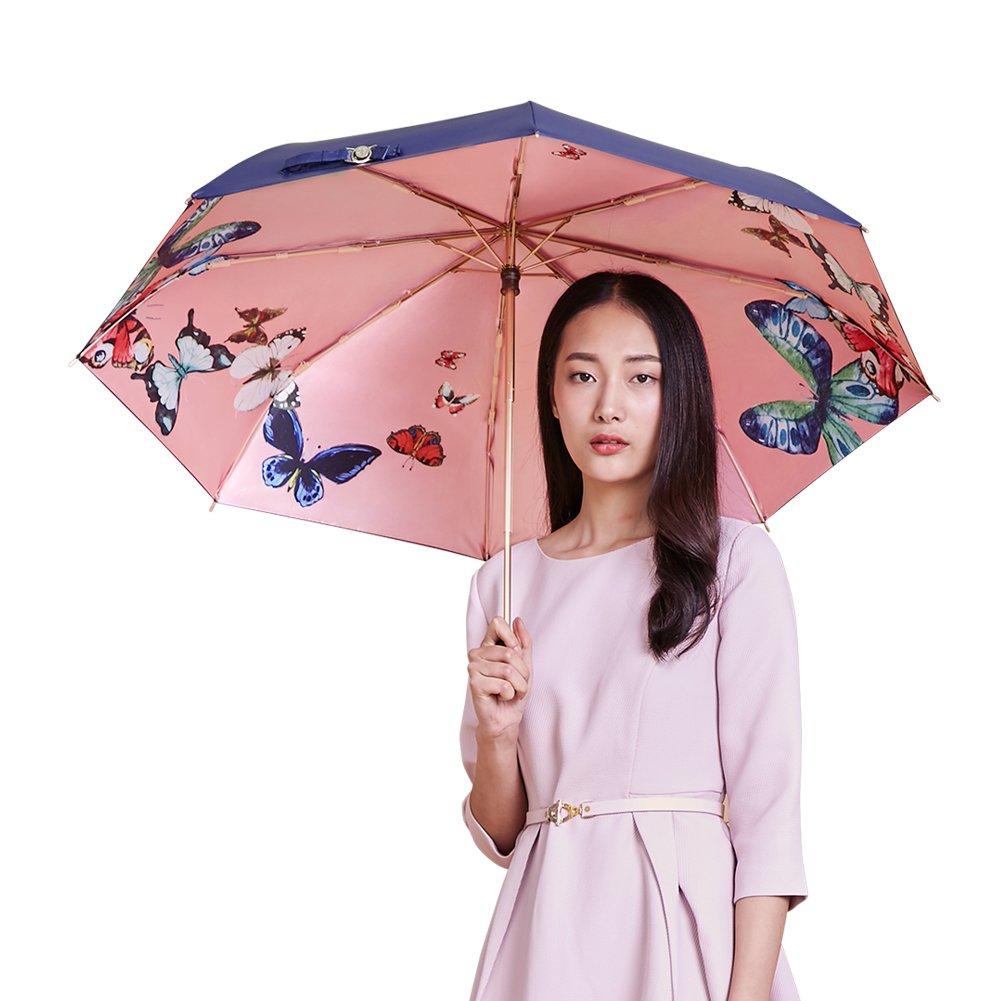 LOPLAY 日傘 折り畳み傘 紫外線遮蔽率99.9% UVカット 晴雨兼用 手動開閉 軽量 高密度ゴム シルク傘布 耐風撥水 レザー収納ポーチ付き(ピンク) B07318KTVQ蝴蝶