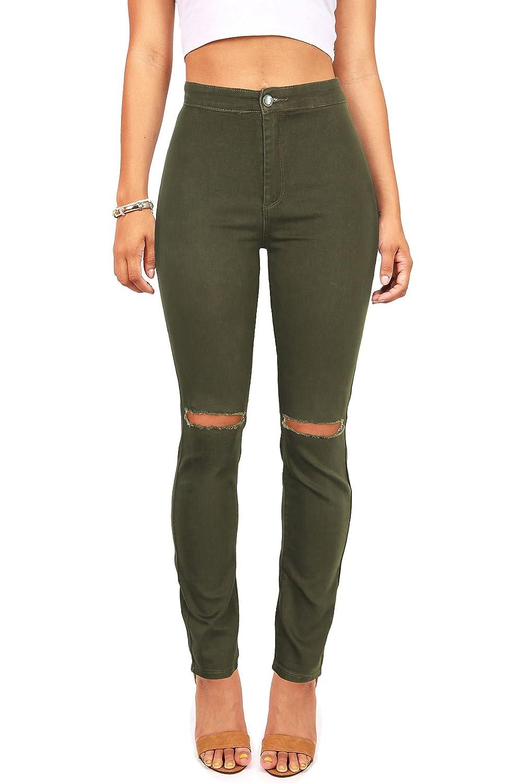 American B Women's Juniors High Rise Jeans w Frayed Knee Cuts