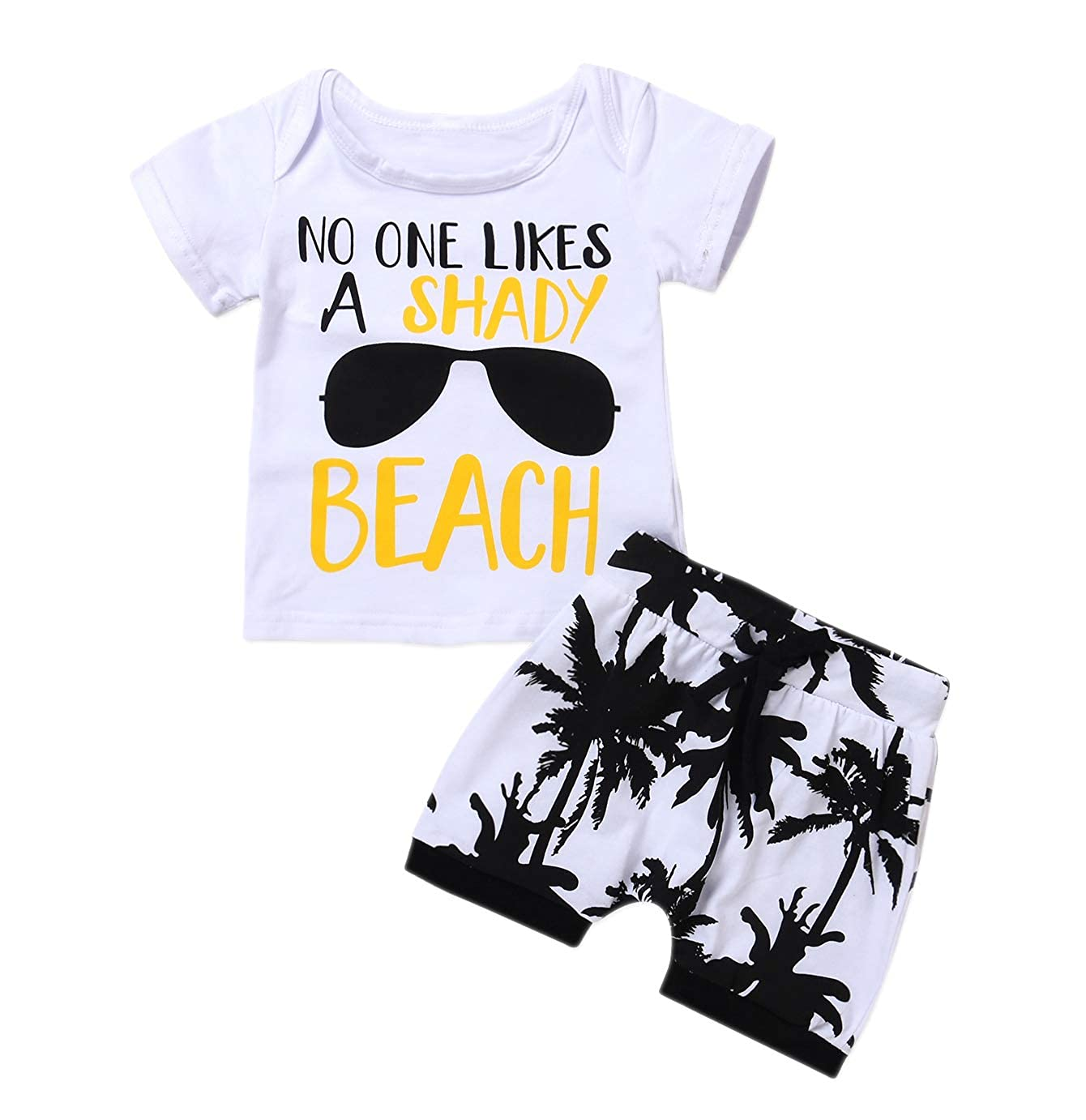 Younger star Toddler Baby Boys Girls Shady Beach Glasses Shirt and Palm Shorts Set