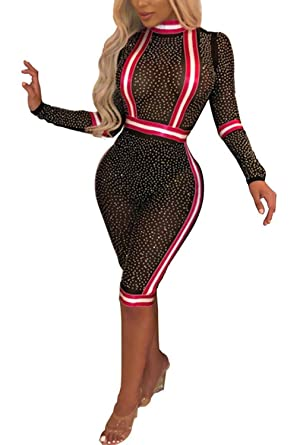 d2b4a9c0a58 Yeshire Women s Sexy See Through Mesh Sequin Long Sleeve Bodycon Jumpsuits Rompers  Long Pants Small Black