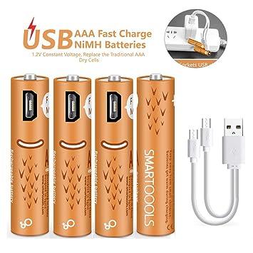 5a0d09eab69 Pilas Recargables AAA,Elzle USB Pilas AAA 450 mAh con Puertos USB Alta  Capacidad 1.2