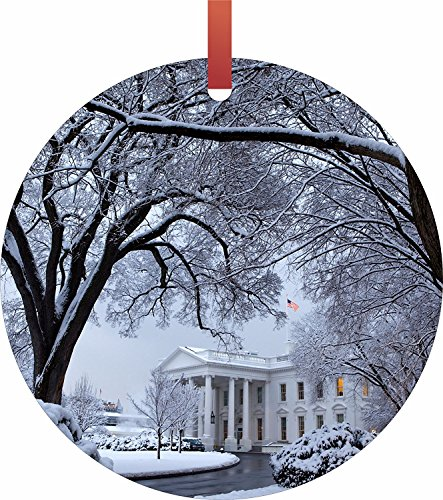Jacks Outlet The White House In Washington D.C. On Christmas Flat Aluminum Semi - Gloss Hanging Holiday Tree Ornament, - Washington Dc Outlet