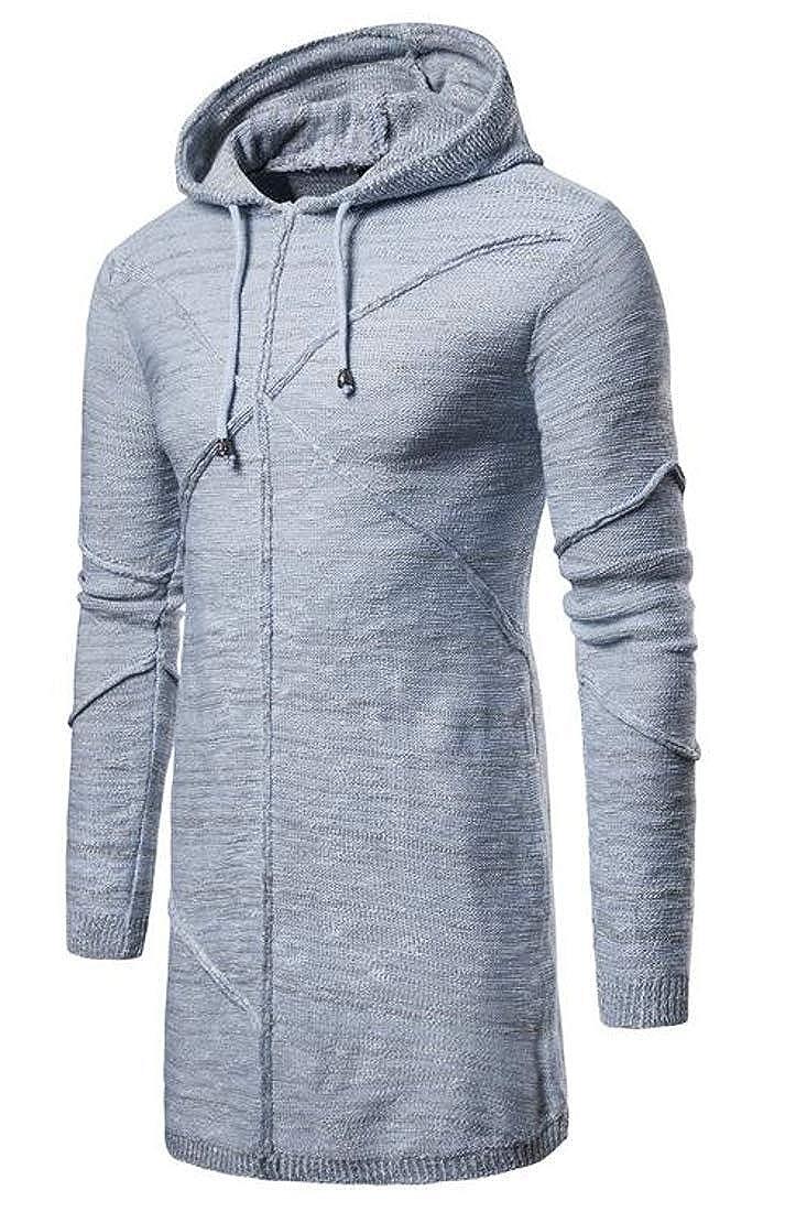 Joe Wenko Men Hooded Pullover Casual Long-Sleeve Knit Mid-Long Sweater