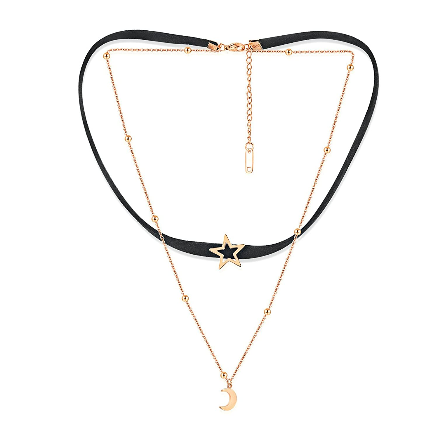 MoAndy Necklace Chain Leather Necklace for Women Flannelette Double Star Moon Black Rose Gold Chain Length 37+5.5CM
