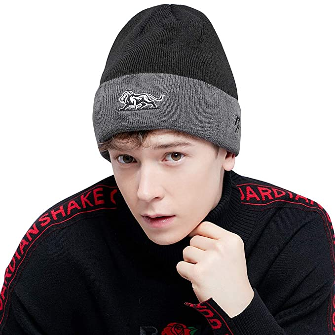 0fdd870cccb97 Riorex Knitted hat Men- High Elasticity Acrylic Beanie - Thick Soft Warm  Winter Hat (. Roll over ...