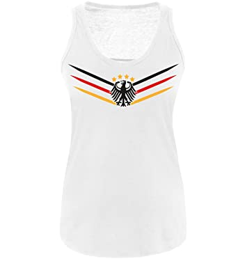 63df8ac67bae Luckja WM 2018 Deutschland Trikot M 02 Damen Tanktop- Gr. M, Weiß ...