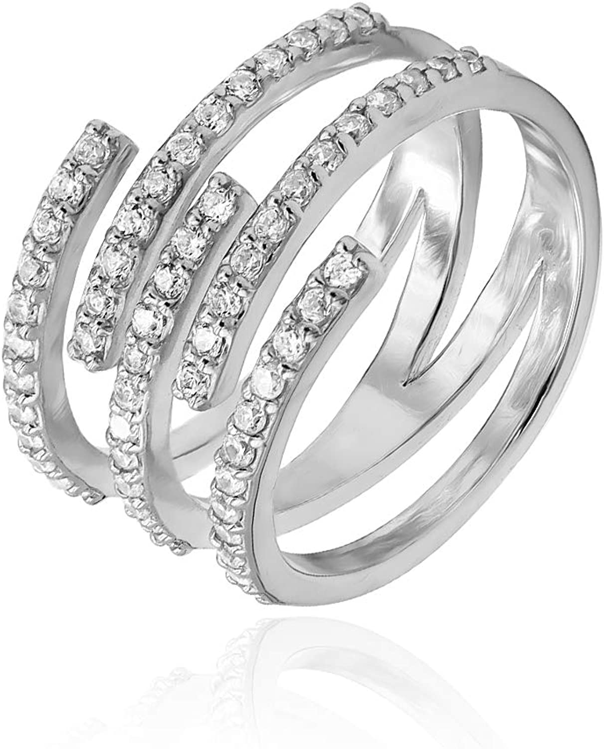 Sterling Silver CZ Cubic Zirconia Spiral Statement Ring Engagement Wedding Valentine Day,Womens Day New Year Size 5-9 for Christmas