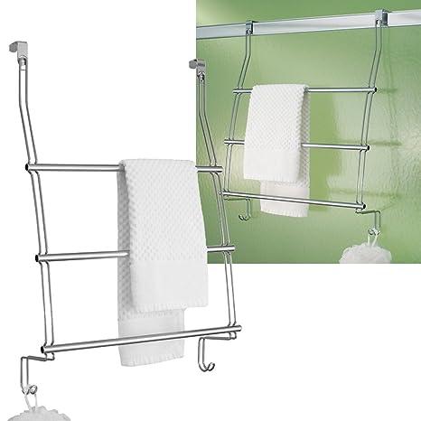 Amazon.com: Sobre la puerta toallero de barra estante de 3 ...