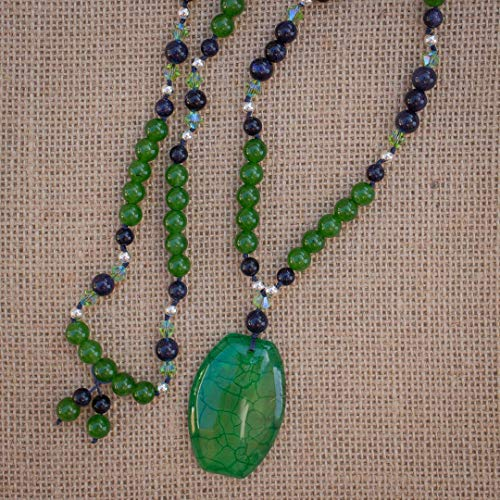 - 30 Inch Long Green Dragon Vein Agate Pendant Necklace with Jade Blue Sandstone and Swarovski Crystal Beads