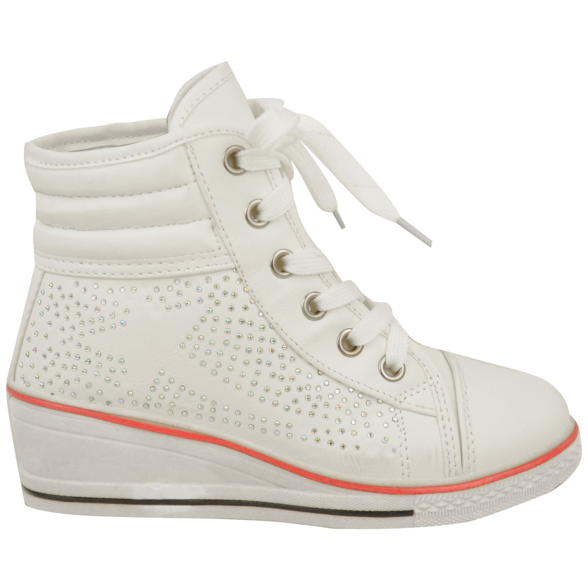 Fashion Thirsty Girls Kids Wedge Sneakers Lace Up Plimsolls Ankle Boots Diamante Trainers Shoes Size