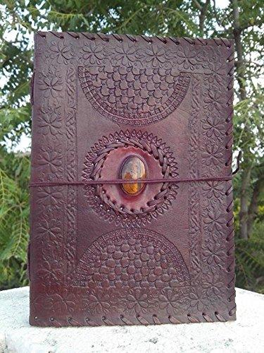 QualityArt Handmade Journal Leather Notebook Tiger Eye Stone Brown Sketchbook Diary 10 x 7