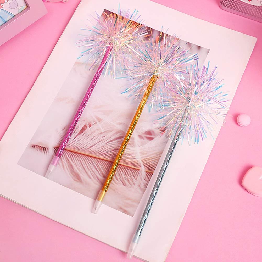 Pink888 4 unidades 0,5 mm Bol/ígrafo de tinta azul con pomp/ón iridiscente color al azar Random Color