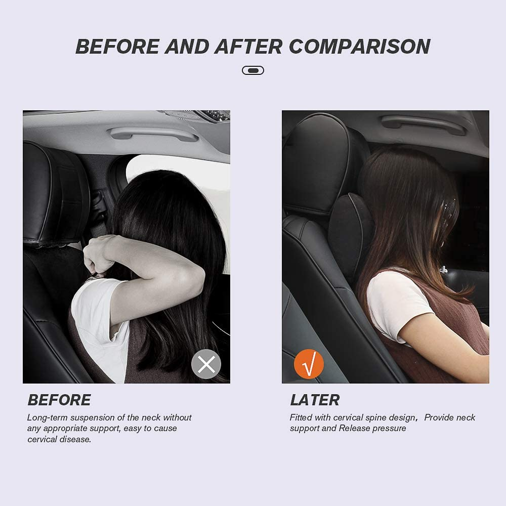 1Pc Wayrank Car Neck Pillow Memory Foam Leather Cover Headrest Cushion Neck Pillows for Car Black