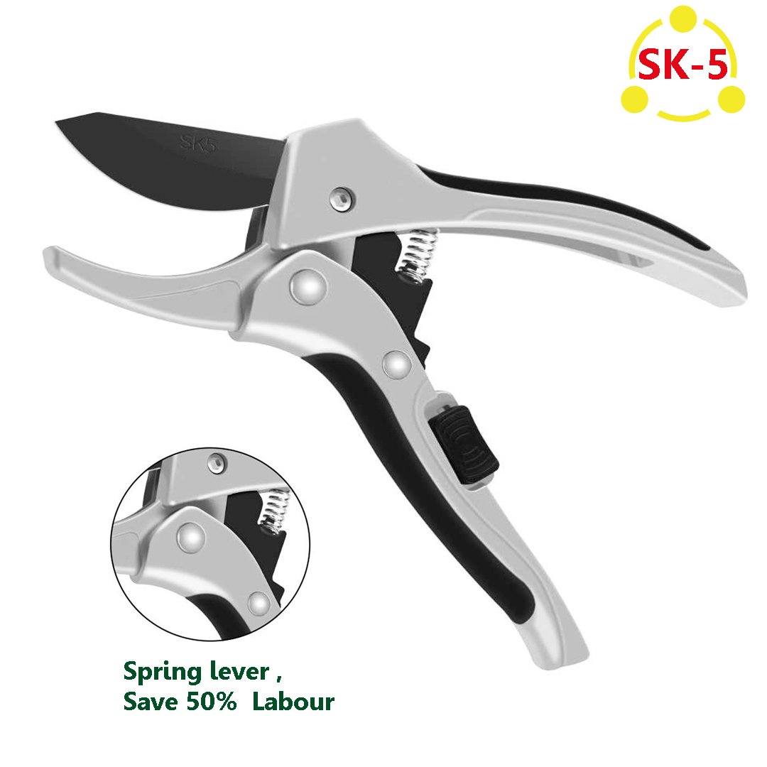 vilapur Pruning Shears,8 Inch Professional Pulley Shears SK-5 Steel Blade Sharp Anvil Hand Pruner with Safety Lock Less Effort Garden Tree Clippers
