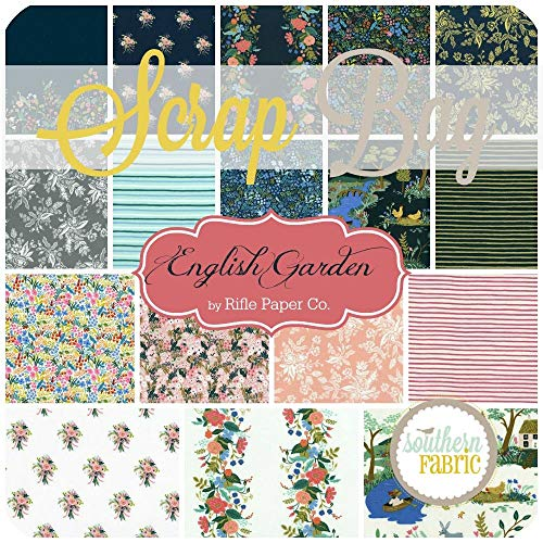 Cotton and Steel English Garden Scrap Bag (Approx 2 Yards) by Rifle Paper Co 2 Yards of Fabric (at Least 8 Pieces) 2 to 17 inch Strips DIY Quilt Fabric