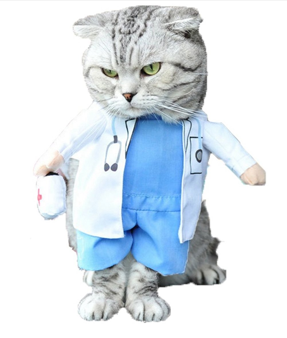 Mikayoo Pet Dog Cat Halloween Costume Doctor Nurse Costume Dog Jeans Clothes Cat Funny Apperal Outfit Uniform(Doctor,S)