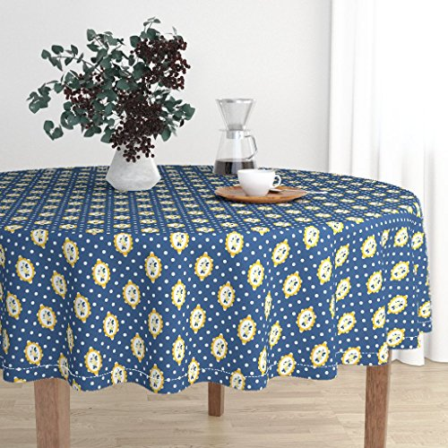 Round Tablecloth - Blue Rose Cameo Shabby Chic Polka Dot English Navy by Katebillingsley - Cotton Sateen Tablecloth (Blue Cameo Check)