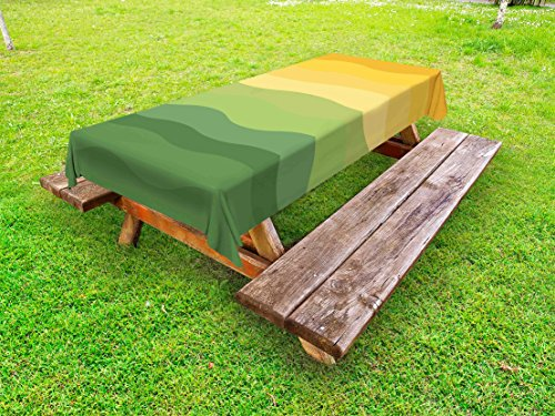 Ambesonne Abstract Outdoor Tablecloth, Green and Yellow Colored Wavy Lines Curves Earth Inspired, Decorative Washable Picnic Table Cloth, 58 X 104 Inches, Mustard Amber Ginger Reseda - Engagement Yellow Curves