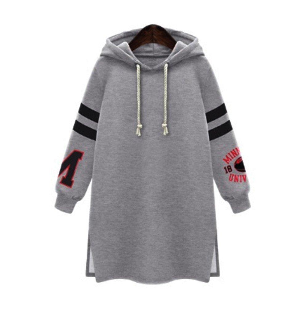 Women's Hoodies Sweatshirt,Thenlian Hooded Sweatshirt Stripe Printed Hoodie Long Sleeve Pullover Drawstring Jumper Tops Blouse Crop sweater(2XL, Gray) by Thenlian Hoodies Sweatshirt 5