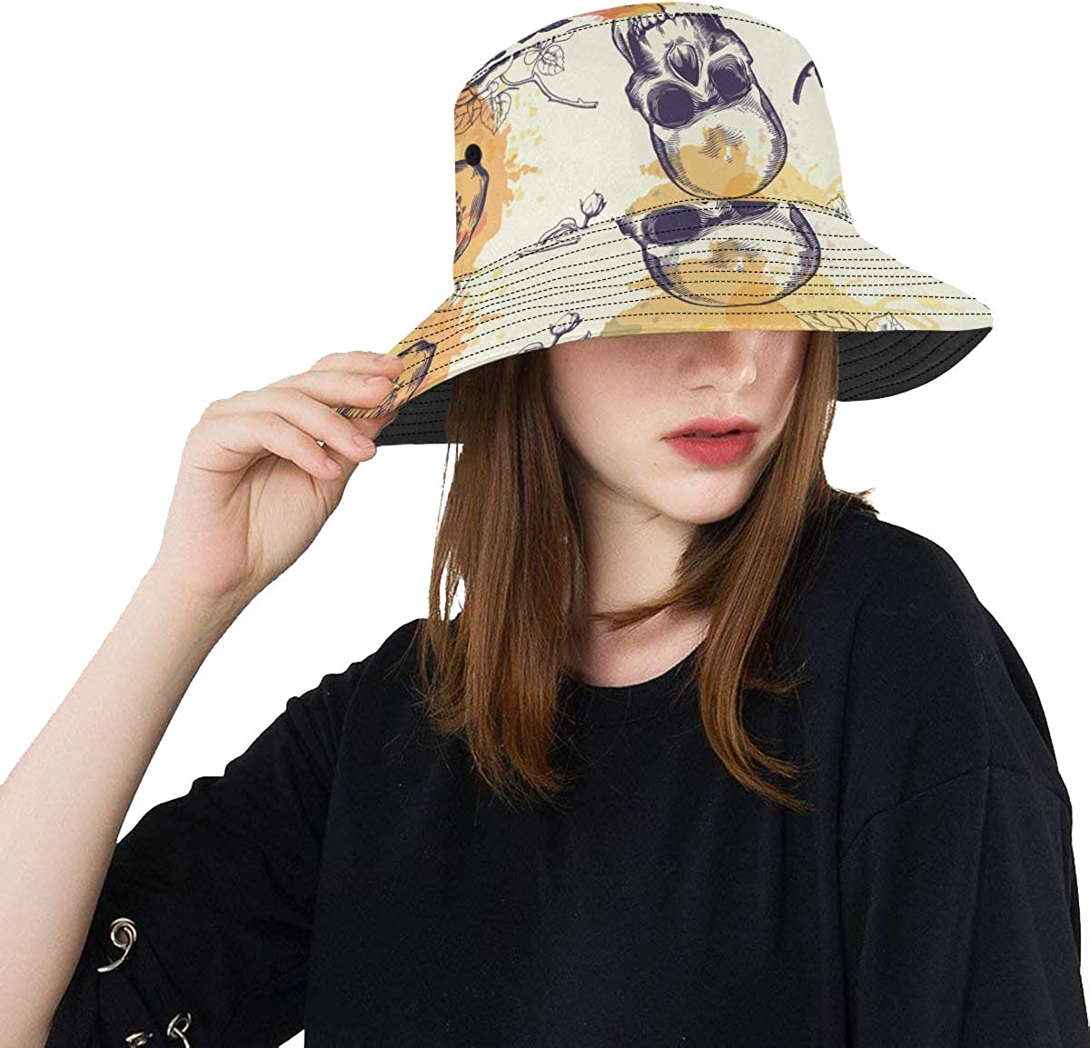 Skull Rose Flower Party Summer Unisex Fishing Sun Top Bucket Hats for Kid Teens Women and Men with Packable Fisherman Cap for Outdoor Baseball Sport Picnic