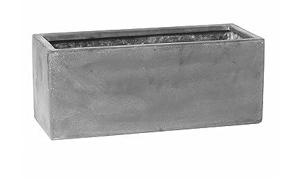 Amazon.com: Caja de gris fibra de vidrio maceta Rectangular ...