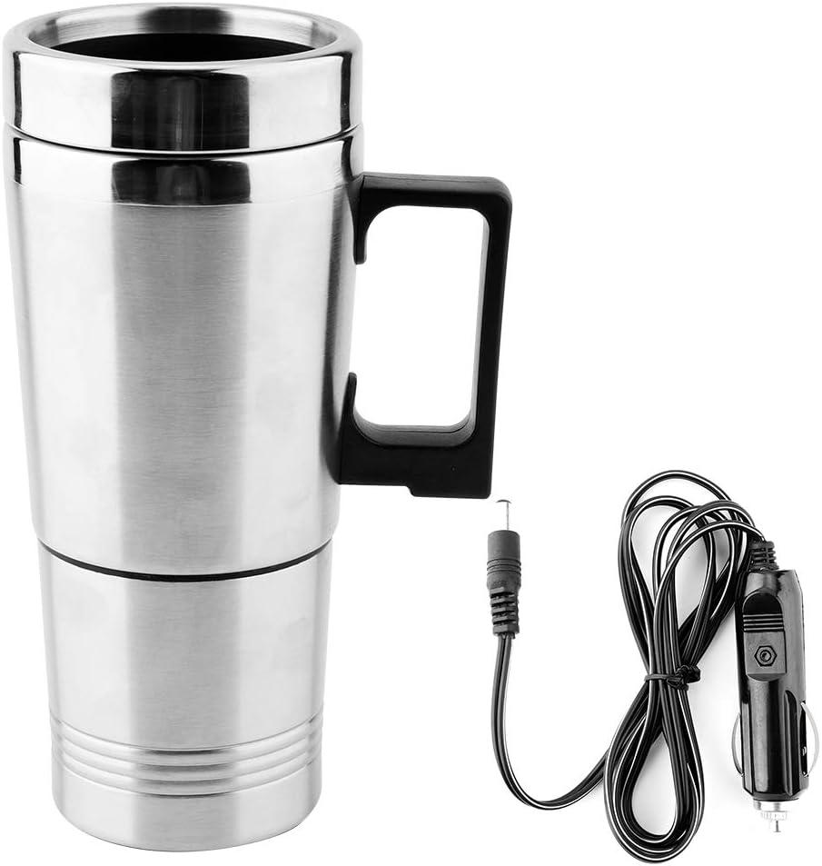 Hervidor eléctrico, 350 ml + 150 ml Taza de agua portátil Acero inoxidable 12V Coche Calentador de agua eléctrico Termos para té Café Agua caliente