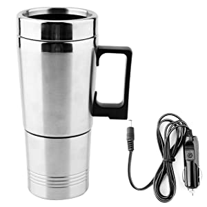 Acouto 12V 350ML + 150ML Stainless Steel Car Electric Kettle Coffee Tea Thermos Water Heating Cup Kettle