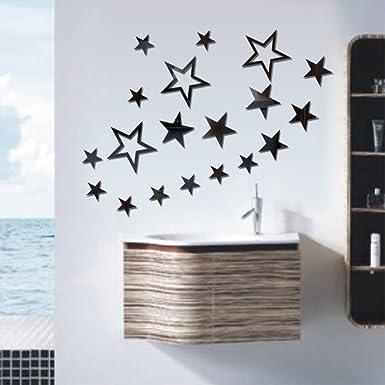 Amazon.com: 3D Mirrors Wall Stickers Art Mirror Wall Decor, Stars ...