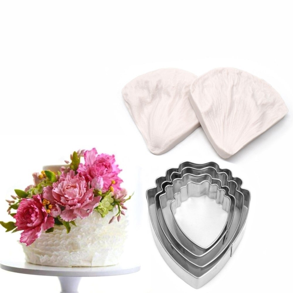 AK ART KITCHENWARE Peony Cutter & Leaf Veiner Cake Decorating Supplies Leaf and Flower Tool Kit Stainless Steel Cookie Cutter Silicone Veining Mold Petal Sugar Flower Making Tool A327&VM060