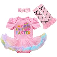 IBTOM CASTLE Newborn Baby Girl 1st Easter Romper Tutu Dress Shoes Outfits