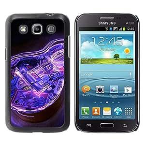 Qstar Arte & diseño plástico duro Fundas Cover Cubre Hard Case Cover para Samsung Galaxy Win / I8550 / I8552 / Grand Quattro ( Guitar Electric Blue Music Instrument Black)