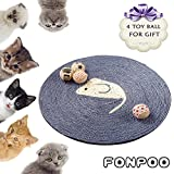 Cat Scratcher By FONPOO, Exclusive version Hand Made Round Sisal Hemp Scratching Pad 4 toy balls for gift