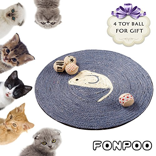 Cat Scratcher pad By FONPOO, Exclusive version Hand Made Round Sisal Hemp Scratching Pad 4 toy balls for gift - Exclusive Cat