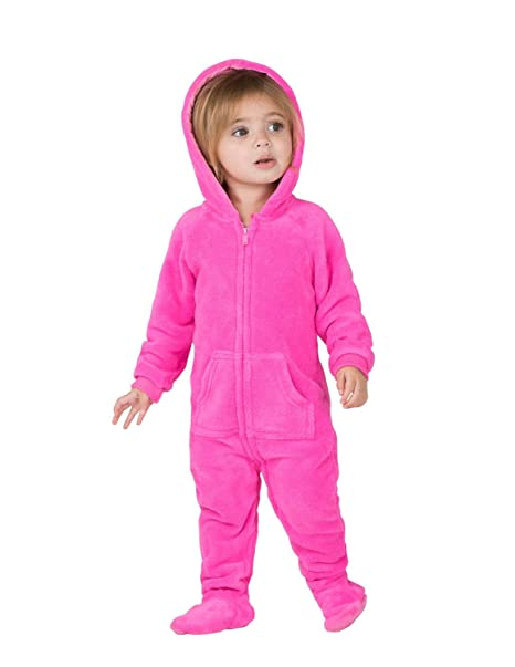 6b646e45b67f Amazon.com  Footed Pajamas - Perfect Pink Infant Hoodie Chenille ...