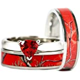 3pc His Hers Red Camo Stainless Steel 925 Sterling Silver Ruby Engagement Wedding Ring Set