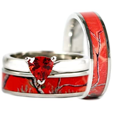 Amazon Com 3pc His Hers Red Camo Stainless Steel Band 925