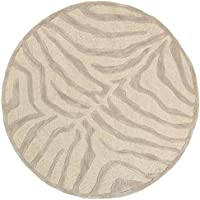 LR Resources Trade AM LR02510-TA3RND Fashion Round Abstract Area Rug, 3 by 3-Feet, Taupe/Silver
