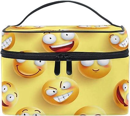 Bolsa de maquillaje, Emoji Emoticon Patrón Estuche de viaje portátil Estuche grande Organizador de bolsas de cosméticos Compartimentos para niñas Mujeres L: Amazon.es: Oficina y papelería